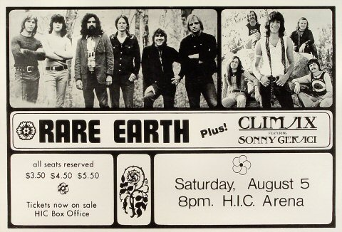 "Rare Earth Poster from Honolulu International Center on 05 Aug 72: 13"" x 19"""