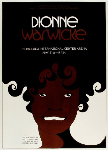"Dionne Warwick Poster from Honolulu International Center on 31 May 73: 18"" x 25"""