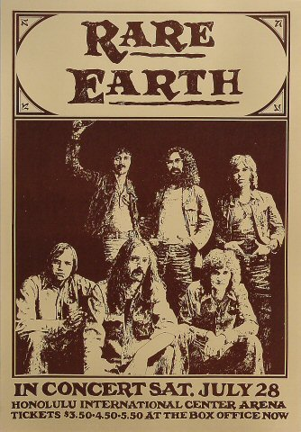 "Rare Earth Poster from Honolulu International Center on 28 Jul 73: 12 1/2"" x 18 1/8"""