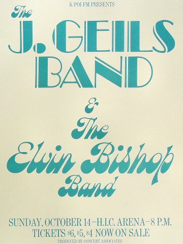 "J. Geils Band Poster from Honolulu International Center on 14 Oct 73: 17 1/2"" x 23 1/8"""