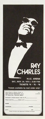 "Ray Charles Handbill from Honolulu International Center on 24 Nov 73: 4 1/4"" x 11"""