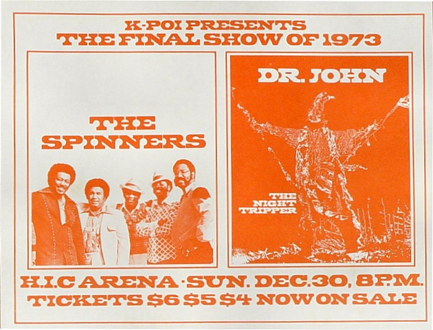 "The Spinners Handbill from Honolulu International Center on 30 Dec 73: 8 1/2"" x 11"""