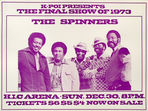 "The Spinners Poster from Honolulu International Center on 30 Dec 73: 18"" x 23 3/4"""