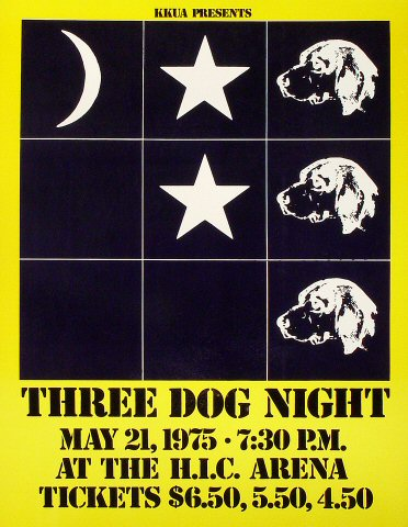 "Three Dog Night Poster from Honolulu International Center on 21 May 75: 16 7/8"" x 21 5/8"""