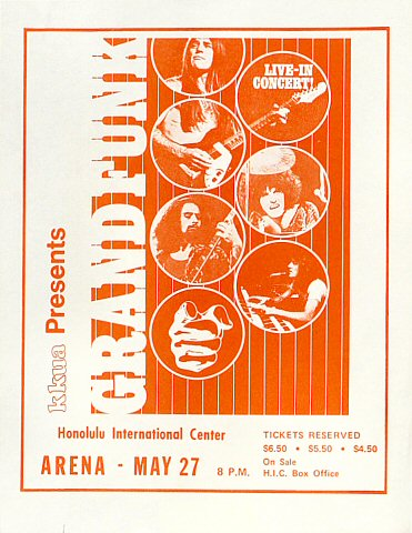 "Grand Funk Railroad Handbill from Honolulu International Center on 27 May 75: 8 1/2"" x 11"""