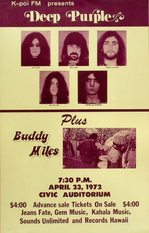 "Deep Purple Poster from Hilo Civic Auditorium on 23 Apr 72: 14 1/2"" x 22 3/4"""