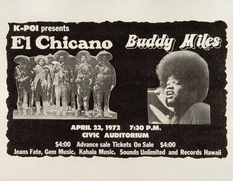 "El Chicano Handbill from Hilo Civic Auditorium on 23 Apr 72: 8 1/2"" x 11"""