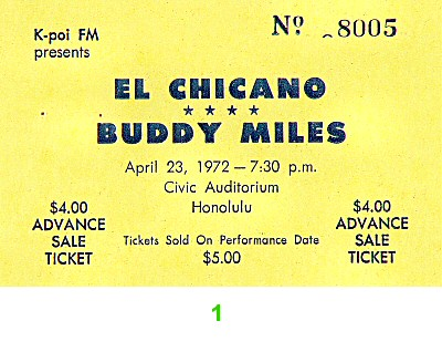 El Chicano 1970s Ticket from Hilo Civic Auditorium on 23 Apr 72: Ticket One