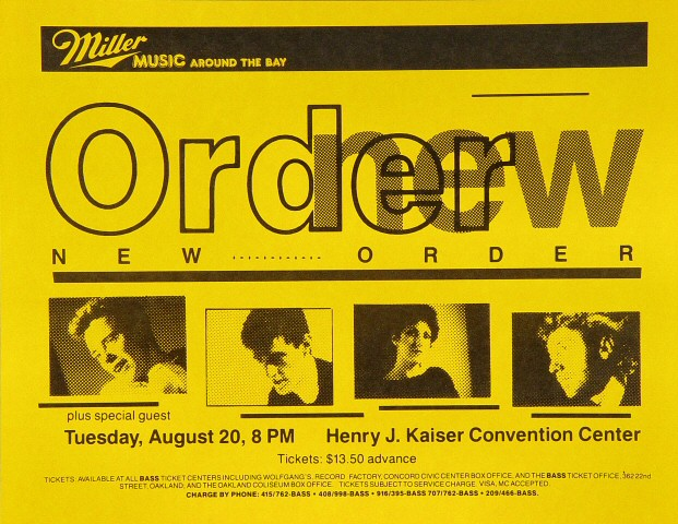 "New Order Handbill from Henry J. Kaiser Auditorium on 20 Aug 85: 8 1/2"" x 11"""
