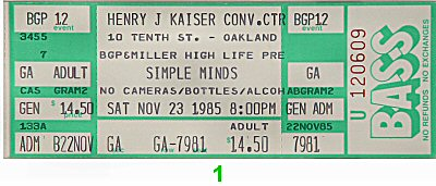 Simple Minds 1980s Ticket from Henry J. Kaiser Auditorium on 23 Nov 85: Ticket One