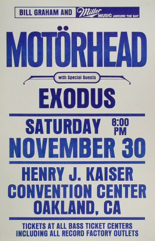 "Motorhead Poster from Henry J. Kaiser Auditorium on 30 Nov 85: 14 1/2"" x 22"""