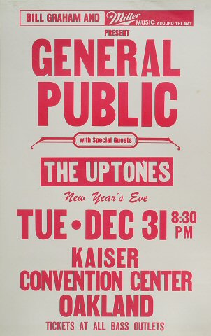 "General Public Poster from Henry J. Kaiser Auditorium on 31 Dec 85: 14"" x 22"""