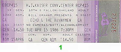 Echo & the Bunnymen 1980s Ticket from Henry J. Kaiser Auditorium on 15 Apr 86: Ticket One