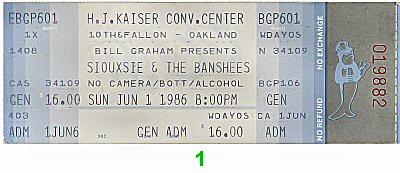 Siouxsie & the Banshees 1980s Ticket from Henry J. Kaiser Auditorium on 01 Jun 86: Ticket One
