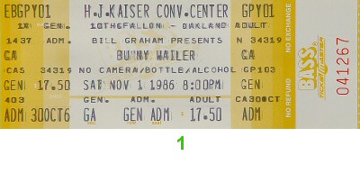 Bunny Wailer 1980s Ticket from Henry J. Kaiser Auditorium on 01 Nov 86: Ticket One