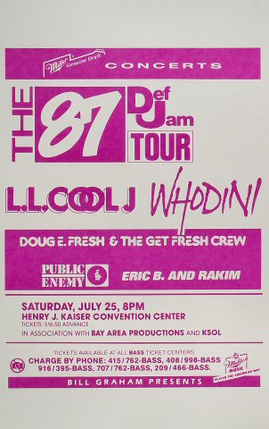 "LL Cool J Poster from Henry J. Kaiser Auditorium on 25 Jul 87: 14"" x 22"""