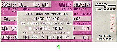Oingo Boingo 1980s Ticket from Henry J. Kaiser Auditorium on 12 Feb 88: Ticket One