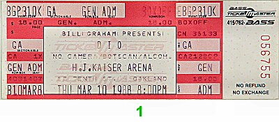 Dio 1980s Ticket from Henry J. Kaiser Auditorium on 10 Mar 88: Ticket One