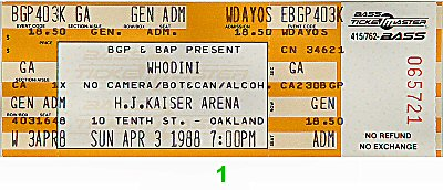 Whodini 1980s Ticket from Henry J. Kaiser Auditorium on 03 Apr 88: Ticket One