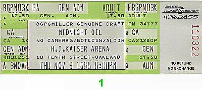 Midnight Oil 1980s Ticket from Henry J. Kaiser Auditorium on 03 Nov 88: Ticket One