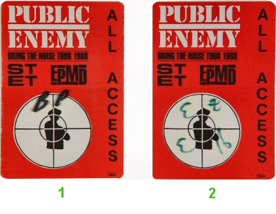 Public Enemy Backstage Pass from Henry J. Kaiser Auditorium on 16 Dec 88: Pass 1