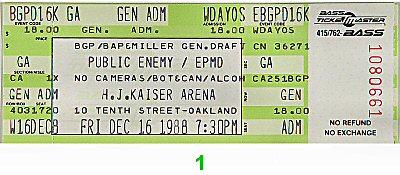 Public Enemy 1980s Ticket from Henry J. Kaiser Auditorium on 16 Dec 88: Ticket One