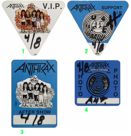 Anthrax Backstage Pass from Henry J. Kaiser Auditorium on 08 Apr 89: Pass 3