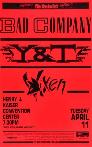 "Bad Company Poster from Henry J. Kaiser Auditorium on 11 Apr 89: 11"" x 17"""