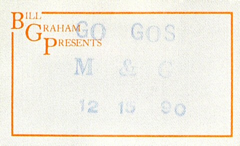The Go-Go's Backstage Pass from Henry J. Kaiser Auditorium on 15 Dec 90: Pass 1