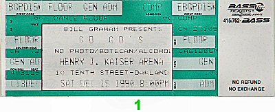 The Go-Go&#39;s 1990s Ticket from Henry J. Kaiser Auditorium on 15 Dec 90: Ticket One
