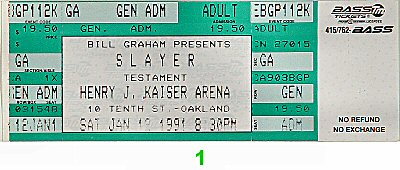 Slayer 1990s Ticket from Henry J. Kaiser Auditorium on 12 Jan 91: Ticket One