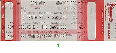Siouxsie & the Banshees 1990s Ticket from Henry J. Kaiser Auditorium on 31 Jan 92: Ticket One