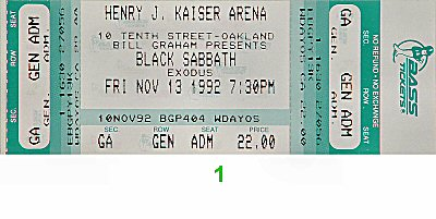 Black Sabbath 1990s Ticket from Henry J. Kaiser Auditorium on 13 Nov 92: Ticket One