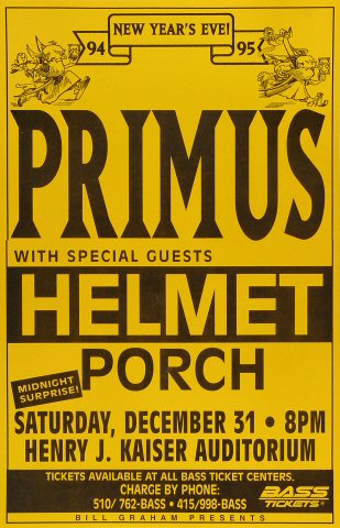 Primus Poster from Henry J. Kaiser Auditorium on 31 Dec 94: 11&quot; x 17&quot;
