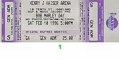 Burning Spear 1990s Ticket from Henry J. Kaiser Auditorium on 10 Feb 96: Ticket One