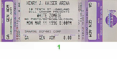 White Zombie 1990s Ticket from Henry J. Kaiser Auditorium on 11 Mar 96: Ticket One