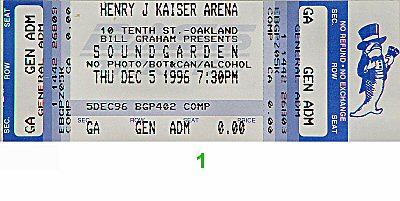 Soundgarden 1990s Ticket from Henry J. Kaiser Auditorium on 05 Dec 96: Ticket One