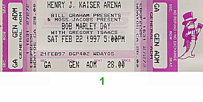 Gregory Isaacs 1990s Ticket from Henry J. Kaiser Auditorium on 22 Feb 97: Ticket One