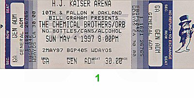 The Orb 1990s Ticket from Henry J. Kaiser Auditorium on 04 May 97: Ticket One