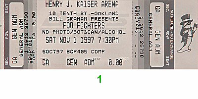 Foo Fighters 1990s Ticket from Henry J. Kaiser Auditorium on 01 Nov 97: Ticket One