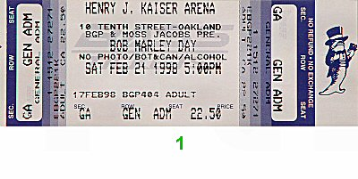 Luciano 1990s Ticket from Henry J. Kaiser Auditorium on 21 Feb 98: Ticket One