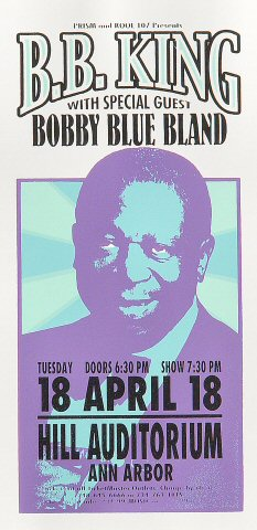 "B.B. King Handbill from Hill Auditorium on 18 Apr 00: 4 1/4"" x 8 1/2"""