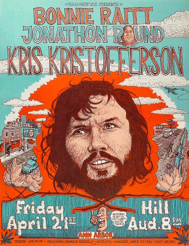 "Kris Kristofferson Poster from Hill Auditorium on 21 Apr 70: 17"" x 22"""
