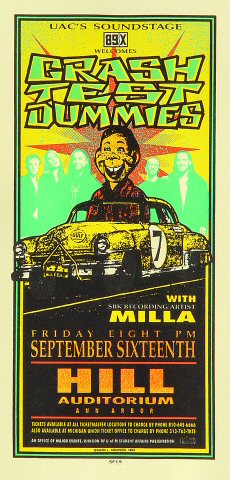 "Crash Test Dummies Handbill from Hill Auditorium on 16 Sep 94: 4 1/4"" x 8 5/8"""