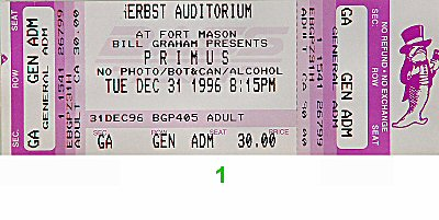 Primus 1990s Ticket from Herbst Pavilion, Fort Mason on 31 Dec 96: Ticket One