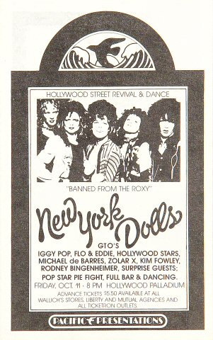 "The New York Dolls Handbill from Hollywood Palladium on 11 Oct 74: 4"" x 6 1/2"""