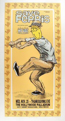 "Save Ferris Poster from Hollywood Palladium on 25 Nov 98: 18"" x 33 1/8"""