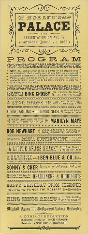 """Bing Crosby Poster from Palace on 01 Jan 66: 6 5/8"""" x 17 1/8"""""""