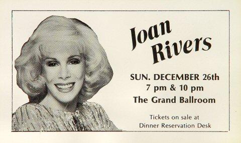 """Joan Rivers Handbill from Hyatt Regency Grand Ballroom on 26 Dec 82: 3 1/4"""" x 5 3/8"""""""