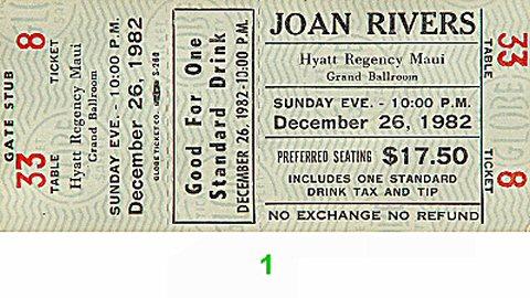 Joan Rivers 1980s Ticket from Hyatt Regency Grand Ballroom on 26 Dec 82: Ticket One